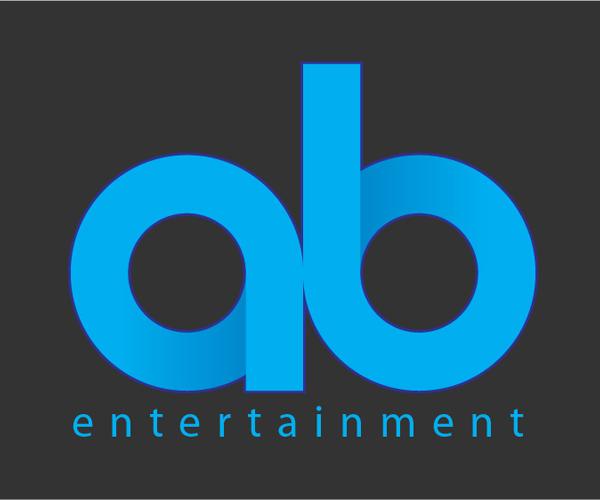 a b letter logo entertainment blue color logo