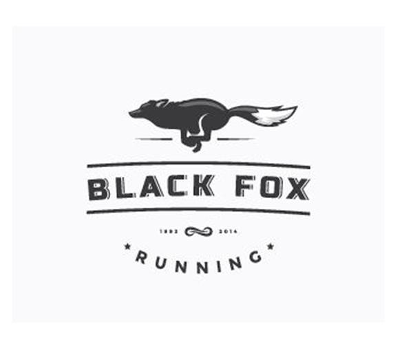black-fox-running-logo-design