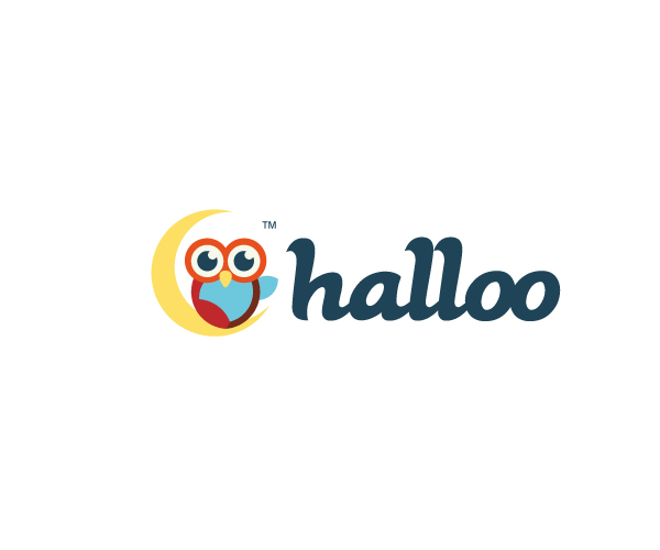 cute-owl-say-hellow-logo-design