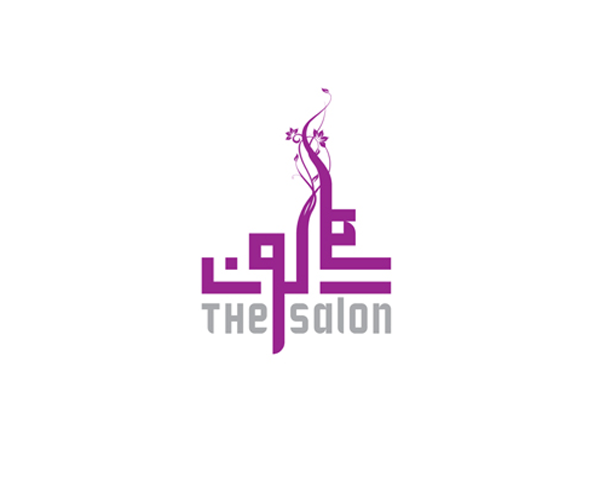 the-salon-english-and-arabic-text-logo-design