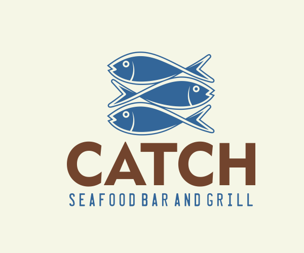 catch-seafood-bar-and-grill-logo-design