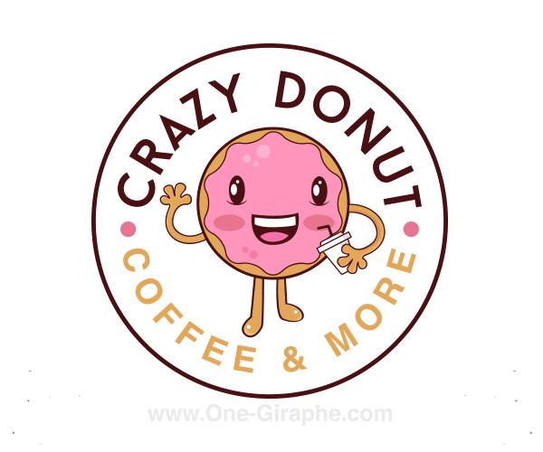 crazy-donut-logo-design-for-coffee-shop