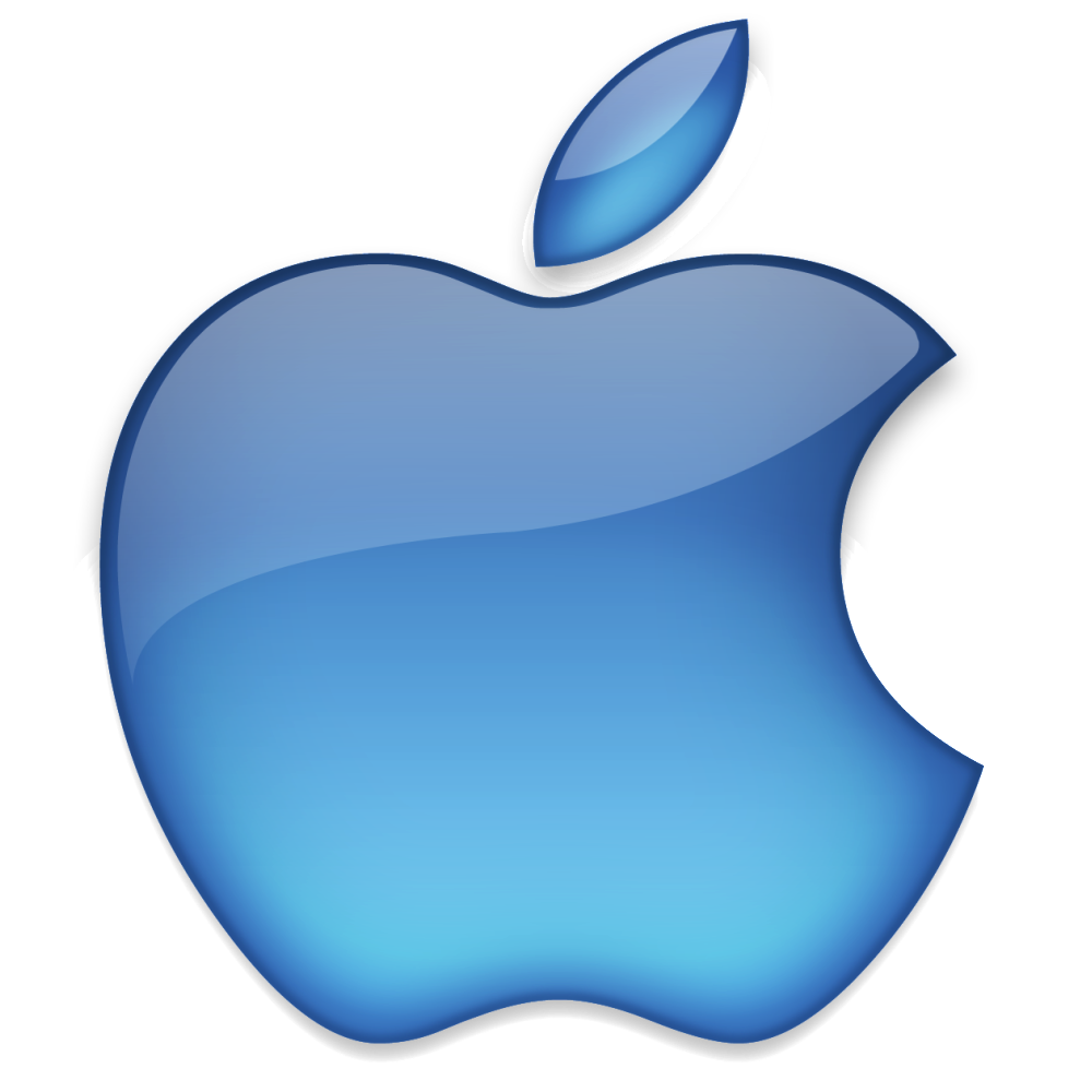 Apple Offical Logo Png Blue Color Transparent Background